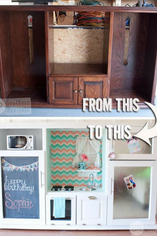 DIY Kids Kitchen Set using an old entertainment unit