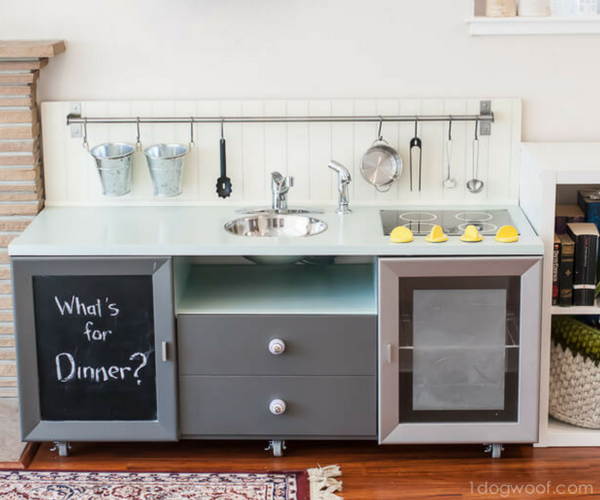 Make a kids play kitchen out of old single level TV stand!