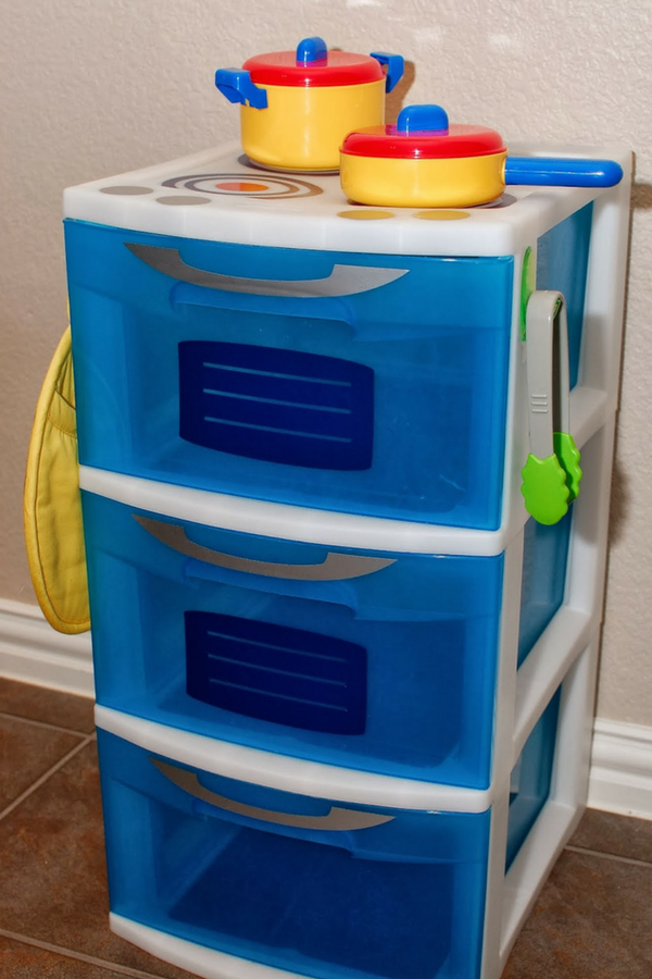 Easy DIY Kids Play Kitchen using a 3 level storage drawer unit.