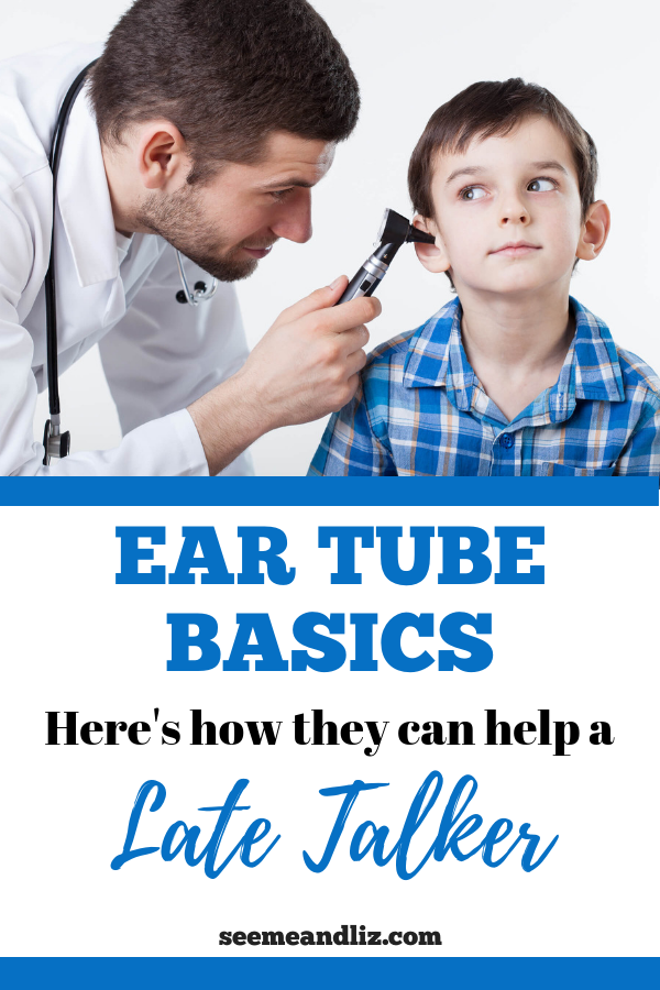 Dr looking in child's ear with text overlay