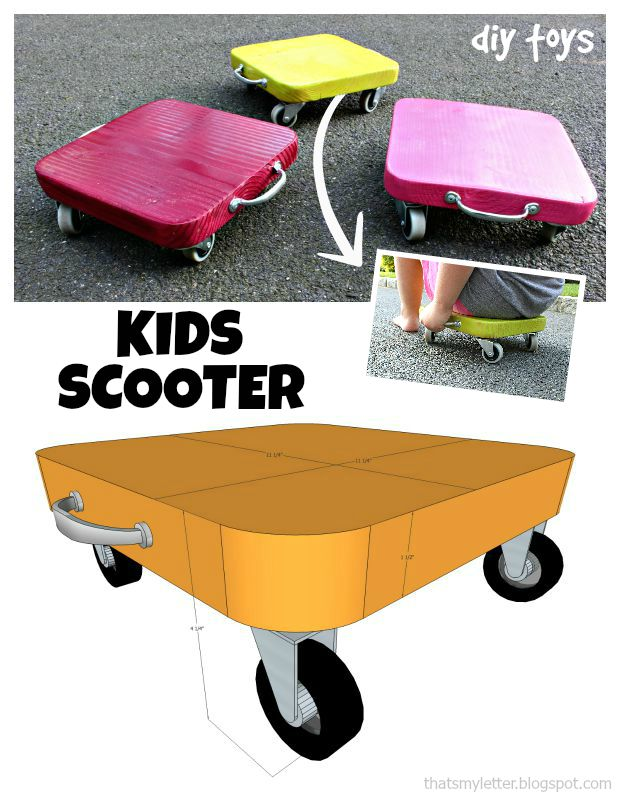 DIY Wooden Scooter for toddlers and preschoolers. Great for practicing balance and gross motor skills
