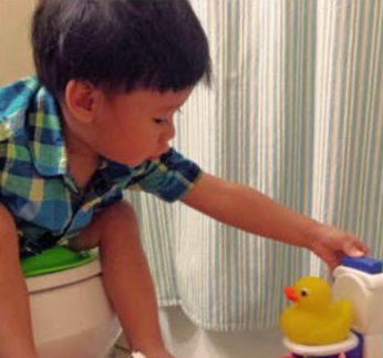 Potty train a toddler with the potty duck!