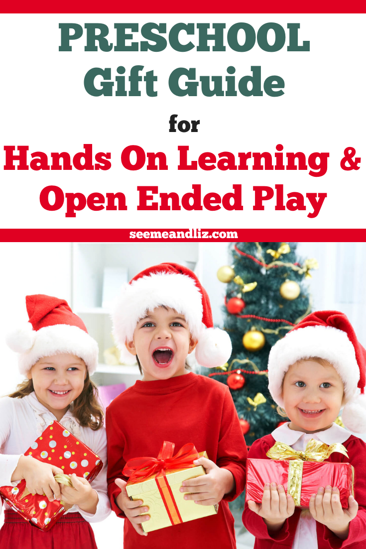 Preschool children holding Christmas gifts with text overlay