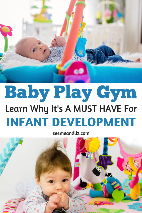 baby activity gyms with text overlay