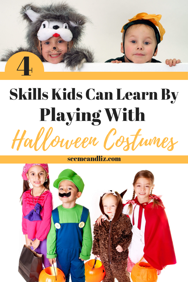 Kids in halloween costumes with text overlay