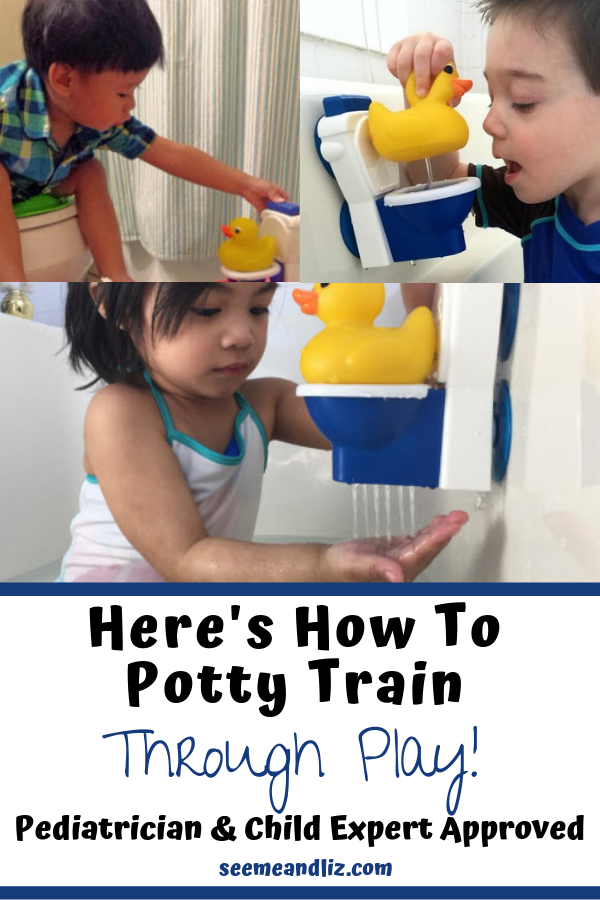 children potty training with text overlay