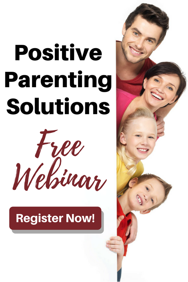 "Family holding sign with text ""Positive parenting solutions free webinar"""