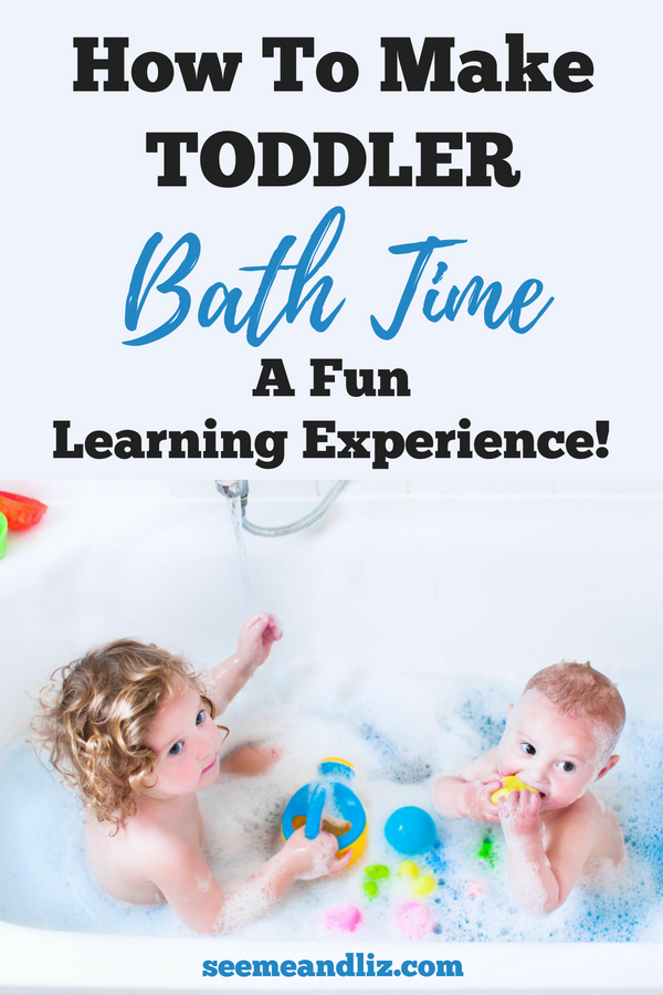 Toddlers in bath with text overlay