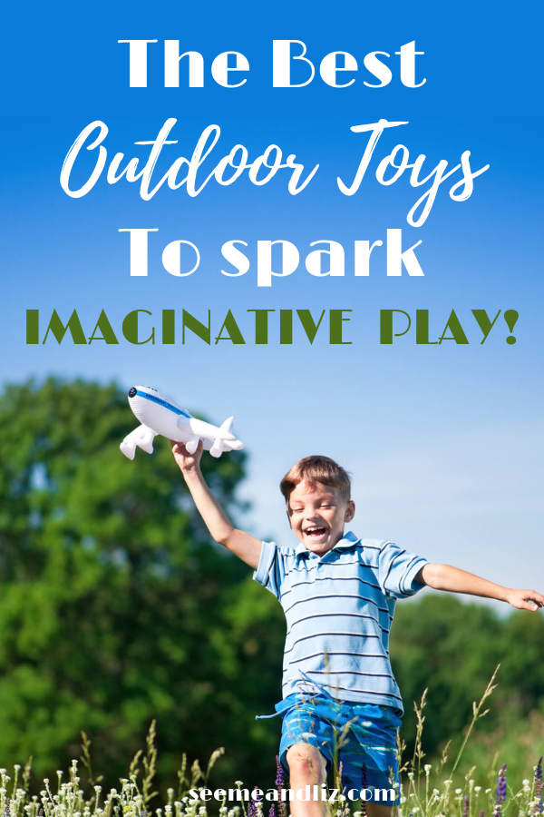 Boy playing outside with toy play with text overlay