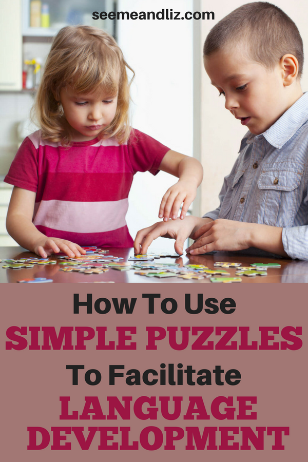 Kids playing with puzzle with text overlay
