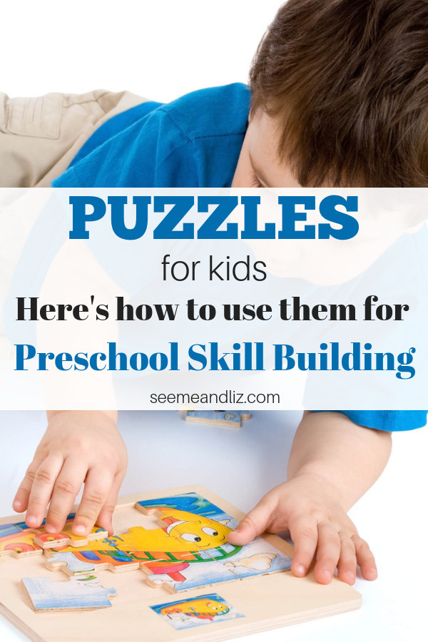 preschooler working on a puzzle with text overlay