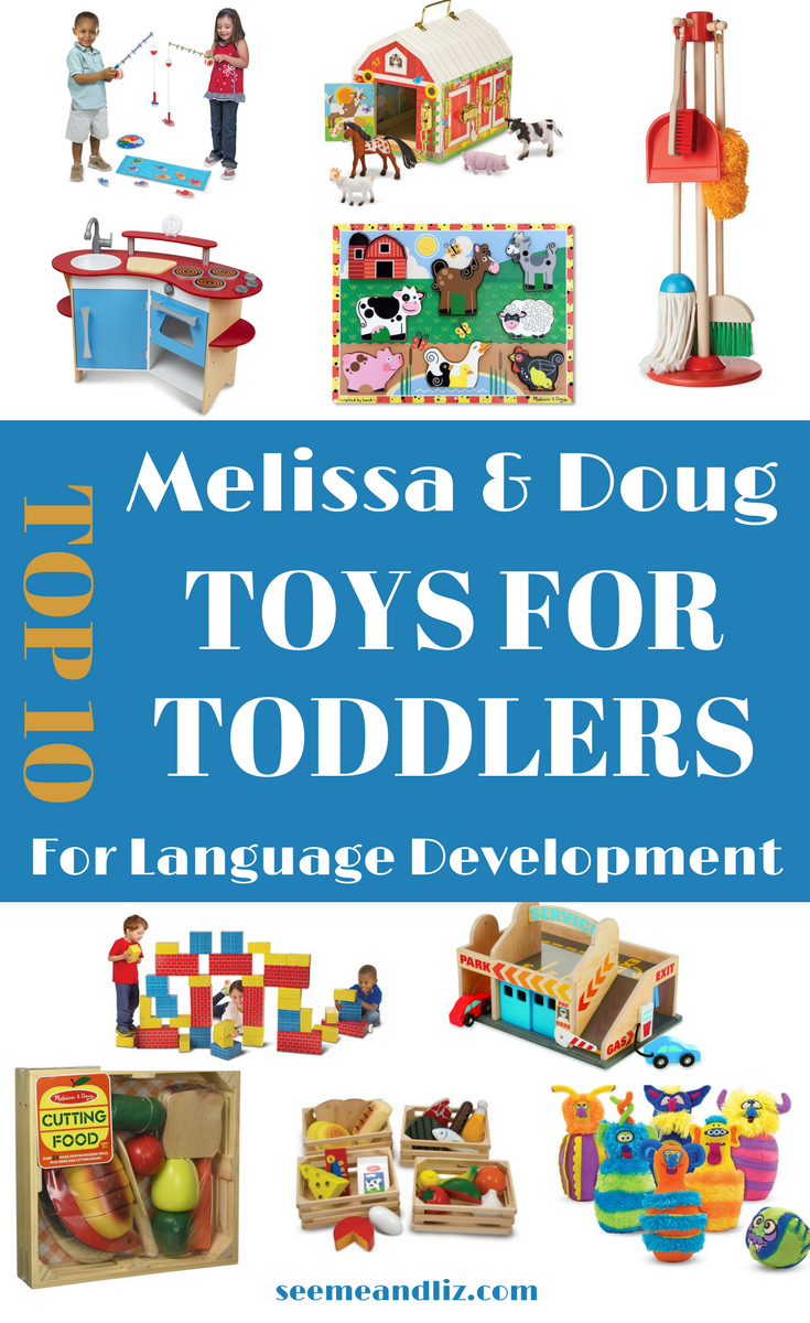 Melissa and Doug toys for toddlers with text overlay