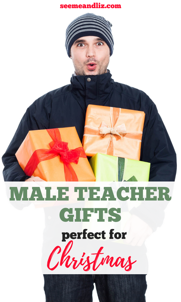 Man holding gift boxes with text overlay