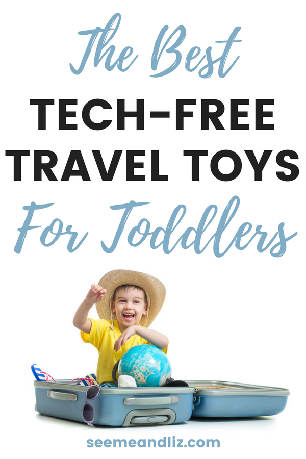Toddler boy in suitcase with text overlay