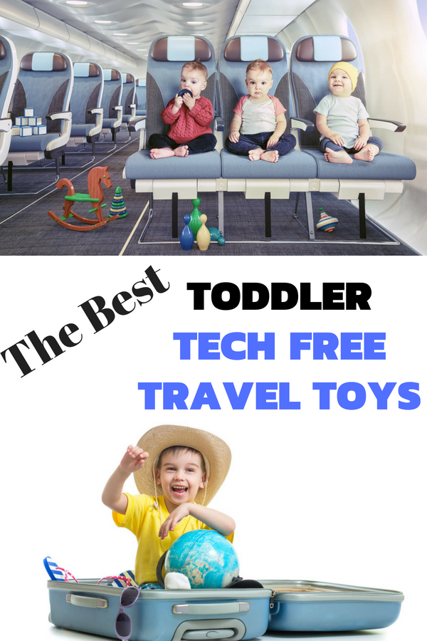 Toddlers on plane toddler in suitcase with text overlay