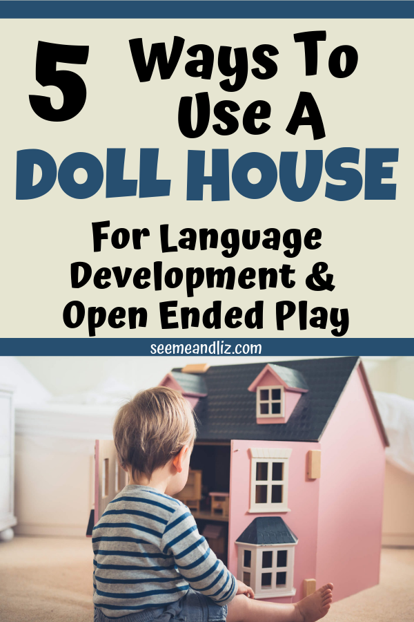 boy playing with doll house with text overlay
