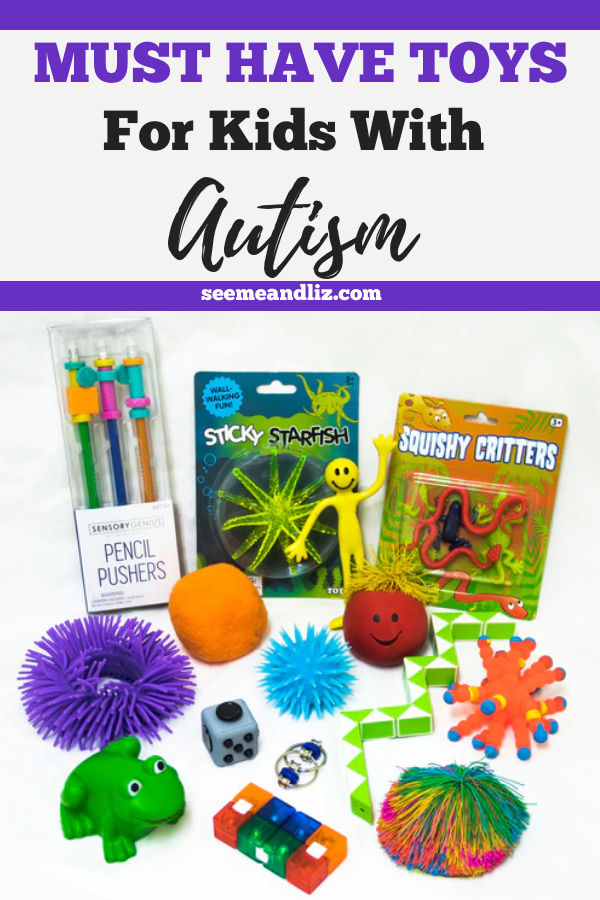 sensory toys for kids with autism with text overlay