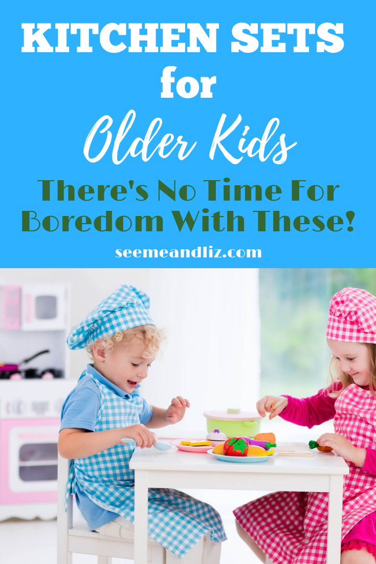 Older Kids Playing With Pretend Kitchen Set Text Overlay