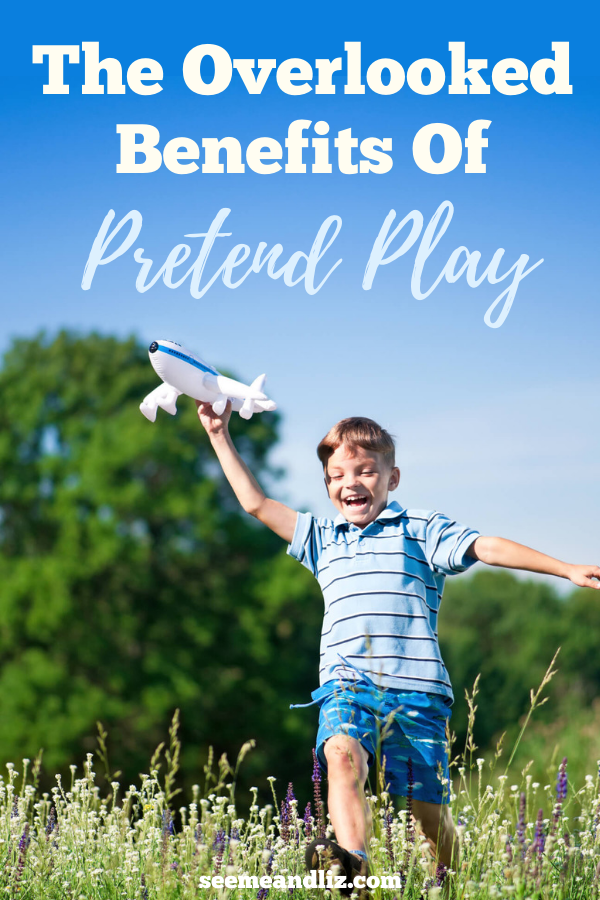 boy flying toy airplane outside with text overlay
