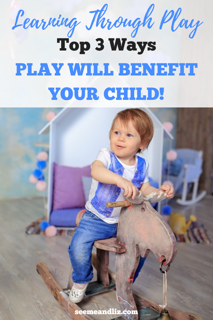 toddler on rocking horse with text overlay